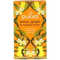 """Натуральный органический чай с лимонном, имбирём и мёдом """"Манукой"""". 20 порций в саше, на травяной основе"""