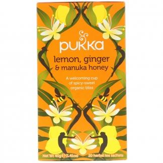 """Натуральный органический чай с лимоном, имбирём и мёдом """"Манукой"""". 20 порций в саше, на травяной основе фото №1"""