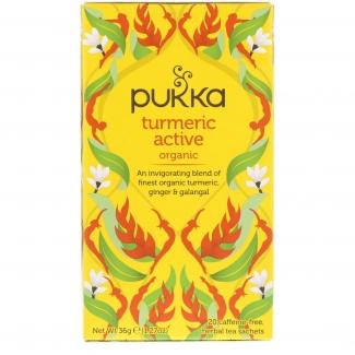 Turmeric active, органический чай с куркумой, без кофеина, 20 пакетиков фото №1