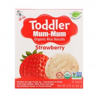 Органическое рисовое печенье Toddler Mum-Mum, клубника 60 грамм фото №1