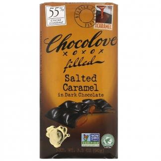 Шоколад соленая карамель с шоколадной начинкой в темном шоколаде, 55% какао, 90 грамм фото №1