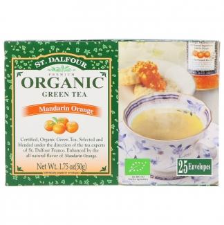 Органический зеленый чай с мандарином 25 пакетиков фото №1