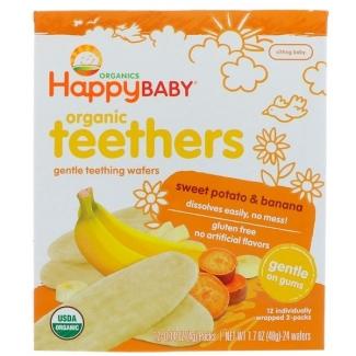 Organic Teethers, вафли для мягкого прорезывания зубов у малышей, батат и банан, 12 пакетиков по 4 г фото №1