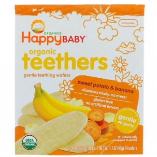 Organic Teethers, вафли для мягкого прорезывания зубов у малышей, батат и банан, 12 пакетиков по 4 грамма фото №1