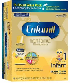 Infant Formula Детская жидкая молочная смесь с железом для детей от 0 до 12 месяцев, (15 бутылочек по 237мл) фото №1