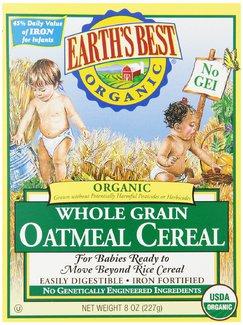 Whole Grain Oatmeal Cereal, Органическая цельнозерновая овсяная каша. С 6 месяцев. 227 грамм    фото №1