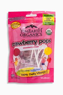 Strawberry Pops Органические леденцы с клубничным вкусом. 85 грамм фото №1
