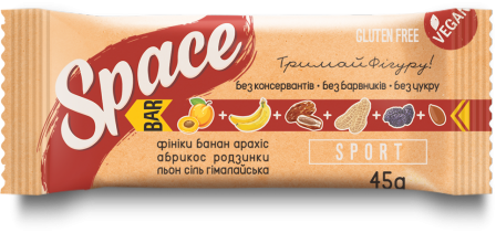Space Bar Батончик Sport без сахара 45 грамм фото №1