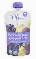 Organic Baby Food blueberry, pear and purple carrot, Органическое пюре из черники, груши и моркови. С 6 месяцев. 113 грамм