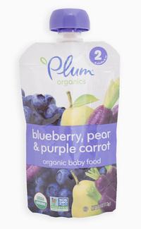 Organic Baby Food blueberry, pear and purple carrot, Органическое пюре из черники, груши и моркови. С 6 месяцев. 113 грамм  фото №1