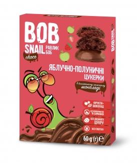 """Натуральные яблочно-клубничные конфеты без сахара с молочным шоколадом """"Улитка Боб"""" 60 г фото №1"""