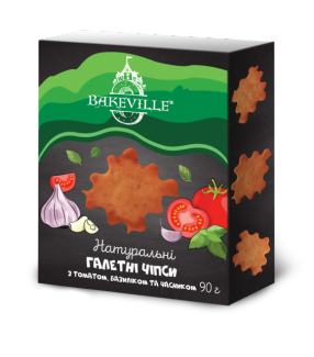 Натуральные галетные чипсы с томатом, базиликом и чесноком 90 грамм фото №1