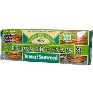 Цельнозерновые хрустящие хлебцы из бурого риса, с морскими водорослями тамари, 100 грамм фото №1