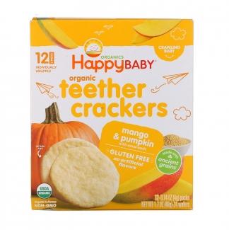 Organic Teethers crackers, вафли для мягкого прорезывания зубов у малышей, Манго и тыква с амарантом, 12 пакетиков по 4 г фото №1