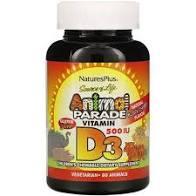Жевательный витамин D3 для детей со вкусом натуральной черемухи, 500 МЕ, 90 животных,Nature's Plus, Source of Life, Animal Parade фото №1