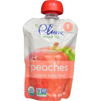 Organic Baby Food just peaches, Органическое персиковое пюре. Первый прикорм. 99 грамм фото №1