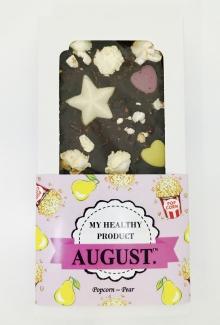 AUGUST. Натуральный шоколад без сахара с соленым попкорном и медовой грушей 100г фото №1
