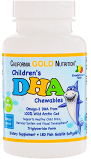 Омега-3(ДГК) для детей в форме жевательных таблеток, 100% дикая арктическая треска, со вкусом клубники и лимона,California Gold Nutrition